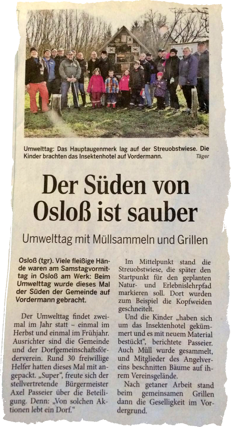 Zeitung Umwelttag Osloß 27.02.2016